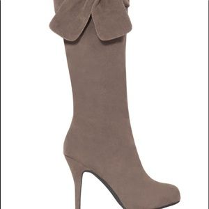 Bow Suede Lone Boots Stiletto Heel Knee high